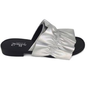 NWT Shellys London Silver Dulcinea Leather Slides